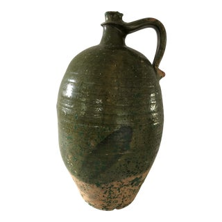 Green Rustic French Pottery Wine Jug For Sale