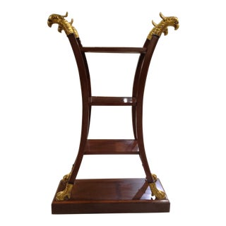 Traditional 4-Shelf Etagere With Decorative Gilded Bird Head & Foot Motif For Sale