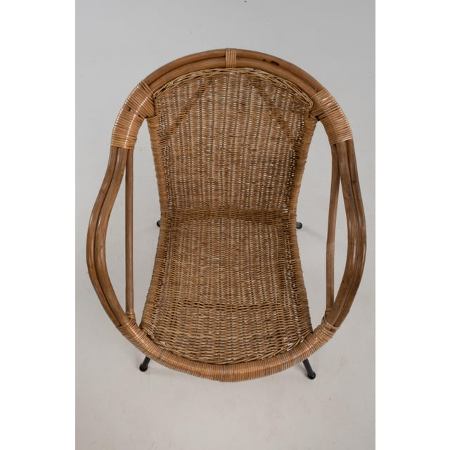 Metal Mid Century Boho Bamboo Rattan Hoop Chair For Sale - Image 7 of 13