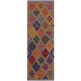 Contemporary Kilim Arica Brown/Tan Hand-Woven Wool Rug - 2'7 X 6'8 For Sale
