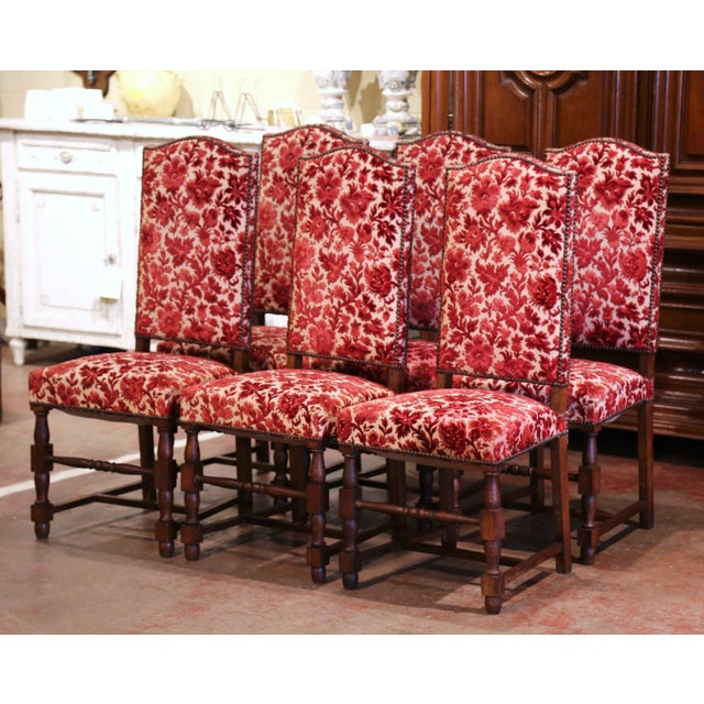 Early 20th Century French Louis XIII Carved Oak Walnut Dining Chairs-Set of Six For Sale - Image 9 of 9