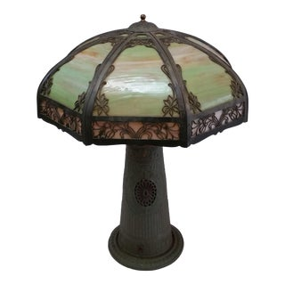 1920s Slag Glass Lamp, Green, Tiffany Style, Lighted Base For Sale