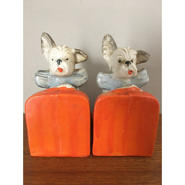 Asian Vintage Ceramic Terrier Bookends - Pair For Sale - Image 3 of 4