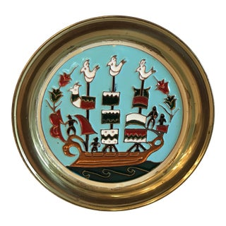 Brass Over Copper Enamel Greek Ship Wall Plate For Sale