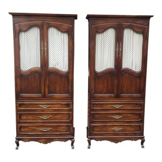 Matching Pair Country French Walnut John Widdicomb Bedroom Armoires 1980s For Sale