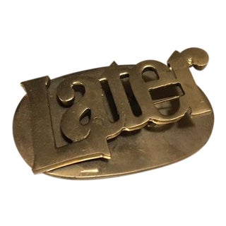 "1970s Vintage ""Later"" Brass Desk Paper Clip/Paper Weight For Sale"