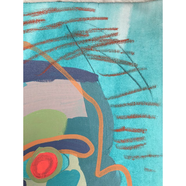 """Turquoise Contemporary Abstract Portrait Painting """"Let's Chat"""" - Framed For Sale - Image 8 of 9"""