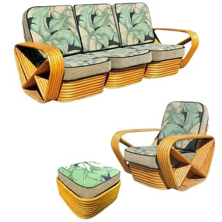 Restored Midcentury Rattan and Mahogany Living Room Seating Set