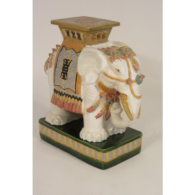 1960s Italian Ceramic Elephant Garden Stool For Sale - Image 10 of 13