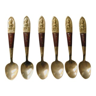 1950s Vintage Siam Brass and Rosewood Demitasse Spoons - Set of 6 For Sale