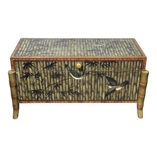 Green & Black Box With Bamboo Motif & Birds For Sale
