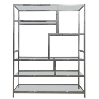 Large Hollywood Regency Chrome Milo Baughman Style Etagere C. 1970-1990s