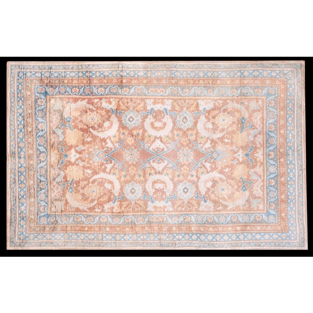 """White 1910s Traditional Blue and Peach Cotton Rug - 4'2""""x6'8"""" For Sale - Image 8 of 8"""