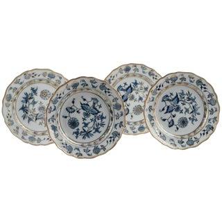 19th Century Art Nouveau Meissen Blue and White Porcelain Plates - Set of 4