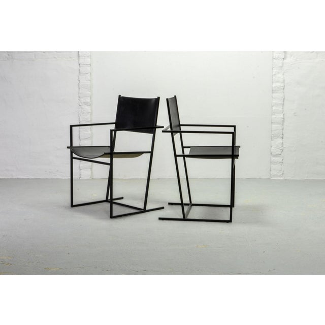 Set of Two Mid-Century Dutch Design Black Leather and Metal Dining Chairs Ag-6 by Albert Geertjes, the Netherlands, 1984 For Sale - Image 9 of 11