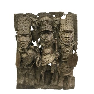 1970s Vintage African Tribal Art Large Benin Bronze Plaque For Sale