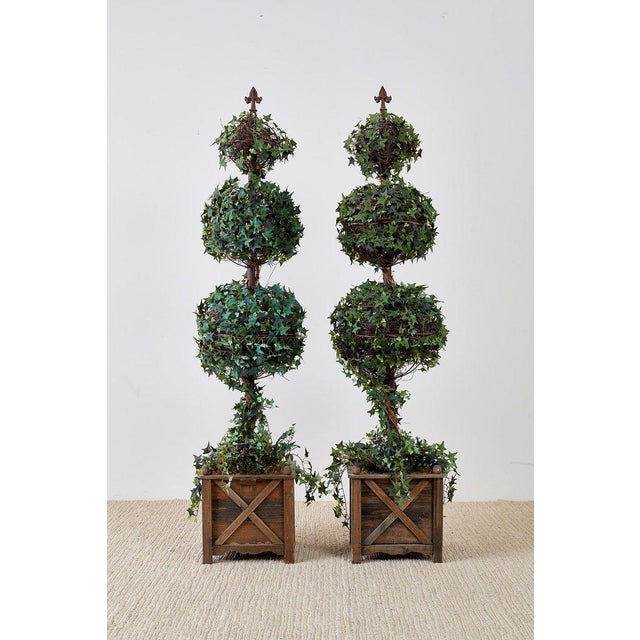 Pair of Neoclassical Faux Ivy Topiary Trees For Sale - Image 10 of 13