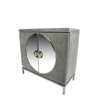 Statements by J Mirrored Accent Cabinet With Silver Legs For Sale