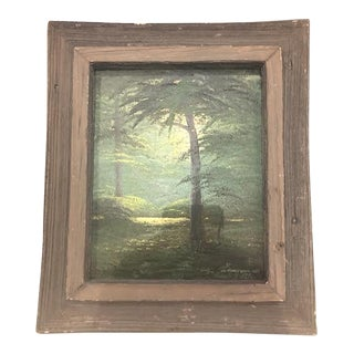 """1970s Vintage """"The Sacred Grove"""" Oil on Canvas Landscape Painting For Sale"""
