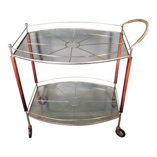Mid-Century Modern MCM Teak, Glass & Brass Bar Cart For Sale