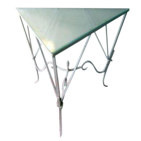 Vintage Mediterranean Wrought Iron and Glass Tall OutDoor Table Bar For Sale