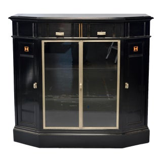 Art Deco Ebonized Sideboard Cabinet With Glass Doors For Sale