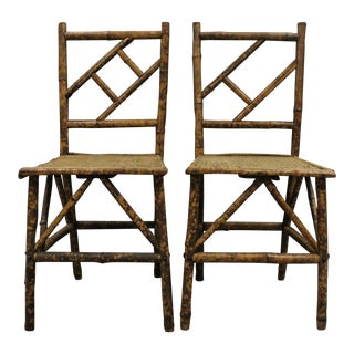 Bamboo & Wicker Side Chairs - A Pair For Sale