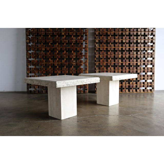 White Travertine Side Tables Circa 1980 - A Pair For Sale - Image 8 of 13
