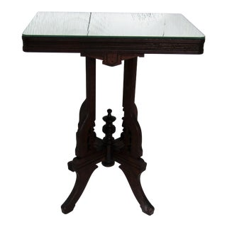 1940s Traditional Carved Wood Table With Mirror Top Surface For Sale
