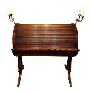 Georgian Style Carved Mahogany and Brass Cylindrical Desk with Lyre Base For Sale