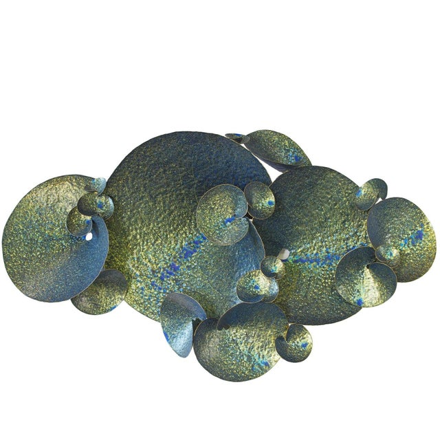 Metal Blue and Gold Lotus Iron Wall Sculpture by Fabio Ltd For Sale - Image 7 of 7
