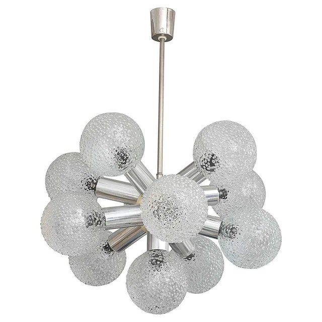 Polished Chrome and Bubble Glass Chandelier Modified Space-Age Style For Sale - Image 11 of 11