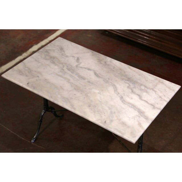 Early 20th Century Early 20th Century French Polished Iron and Marble-Top Bistrot Table For Sale - Image 5 of 10