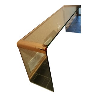 Waterfall, Glass and Brass, Console Table For Sale