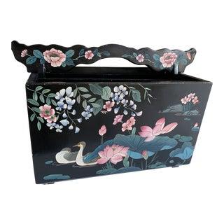 Vintage Asian Black Wood Floral Box Vessel For Sale