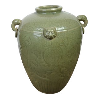 Early 20th Century Chinese Large Ceradon Jar For Sale
