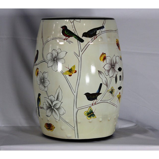 Asian Modern Contemporary Floral Porcelain Garden Stool For Sale - Image 3 of 6