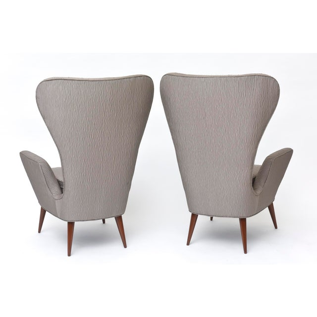 Pair of Italian Modern High Back Chairs, Italy For Sale - Image 9 of 11