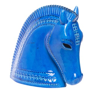 Bitossi of Italy Ceramic Horse Head in Rimini Blue Glaze For Sale