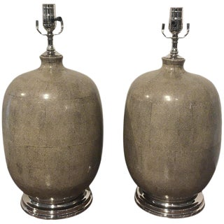 Pair of Shagreen Porcelain Vases, Now as Lamps For Sale