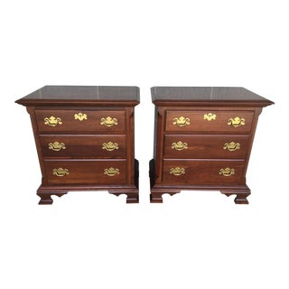Colonial Furniture Cherry Chippendale Style 3 Drawer Nightstands - a Pair For Sale