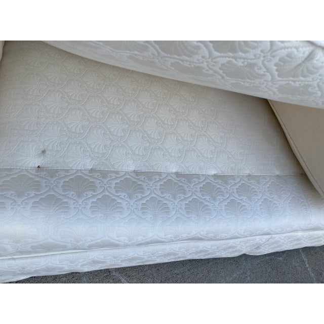 White Mid-Century White Tuxedo Skirted Sofa For Sale - Image 8 of 13
