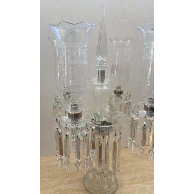 Antique French Regency Baccarat Style Cut-Crystal Girandole For Sale In West Palm - Image 6 of 13