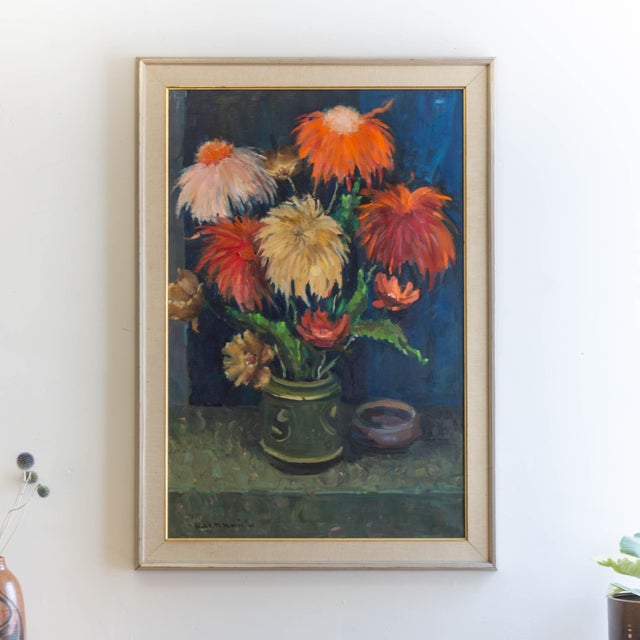 Black 1962 Signed Still Life Oil Painting of Flowers For Sale - Image 8 of 8