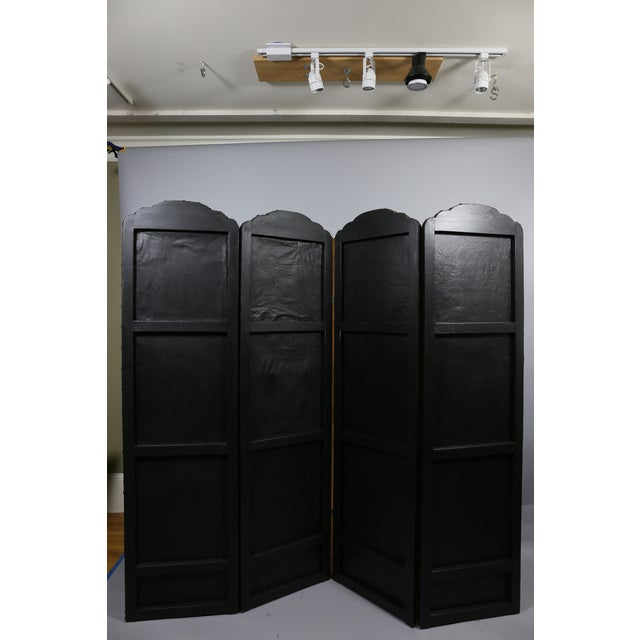 Late 19th Century European Embossed Leather Four-Panel Screen For Sale - Image 5 of 6