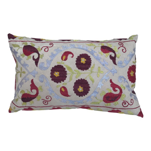 Antique Embroidered Suzani Pillow For Sale