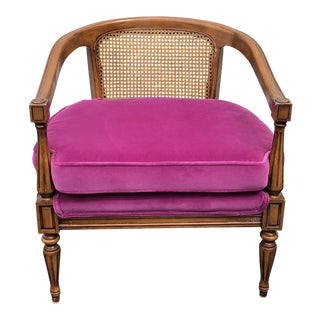 1960s Vintage Caned Back Armchair For Sale