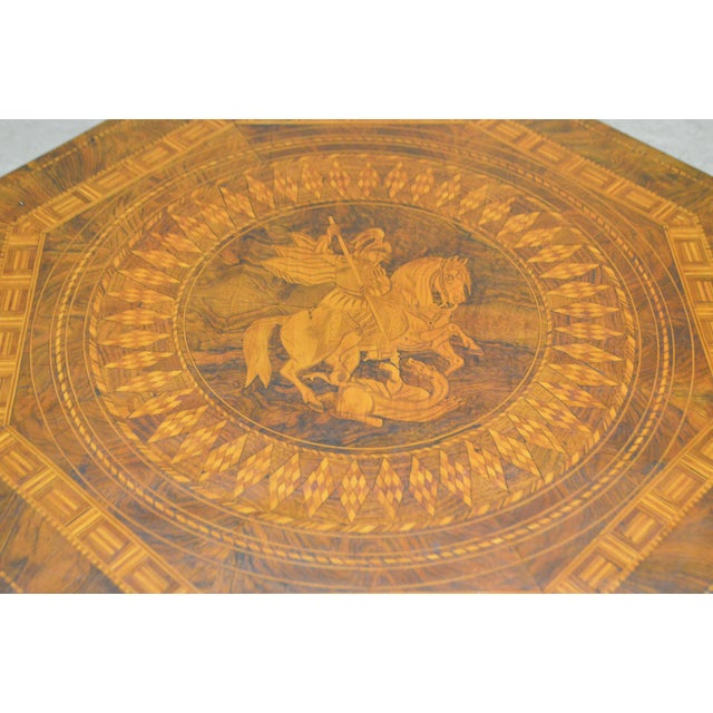 Antique Italian Walnut Marquetry Inlaid Octagon Top Pedestal Side Table For Sale In Philadelphia - Image 6 of 10