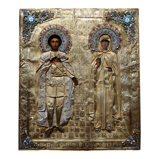 19th Century Russian Icon With Silver & Enamel Accents Artwork For Sale