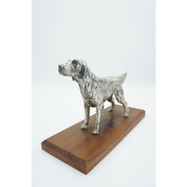 Realism Vintage Silverplate Sporting Dog on Wooden Base For Sale - Image 3 of 11